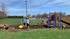 The kids play area under construction
