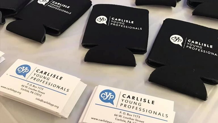 Marketing drink coozies and business cards